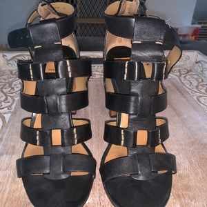 Black leather block heel sandals